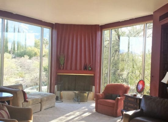 Corner fireplace and windows