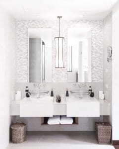 Custom mirrors over bathroom vanity - residential glass services in Tucson