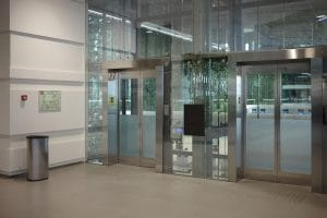 sliding automatic entrance doors in modern building